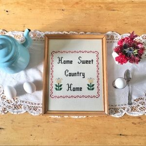 Home Sweet Country Home cross-stitched wall art